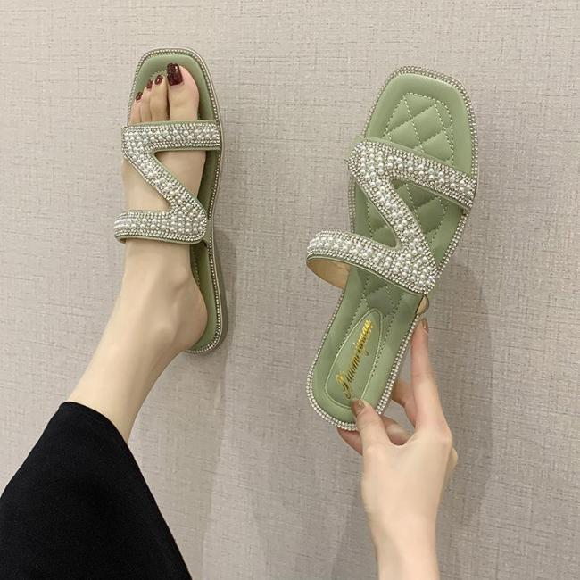 Slippers for Women Wear Ins Women's Sandals String Flat Beach Shoes