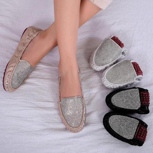 Women Foldable Flat Shoes Fashion Rhinestone Slip-on Flats