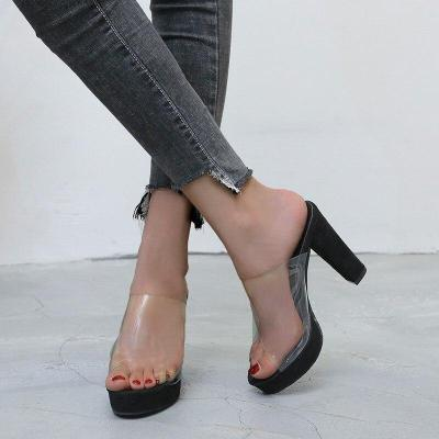 New Transparent Slippers Women Fashion Platform Thick High Heels Shoes Woman Summer Peep Toe Sandals Plus Size