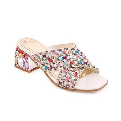 Summer Sandals Crystal Square High Heels Shoes Ladies Prom Shoes Women Sandals