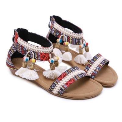 Women's Sandals Boho Rhinestone Vacation Beach Seaside Roman Shoes Sandalias  Casual  Womans Shoes