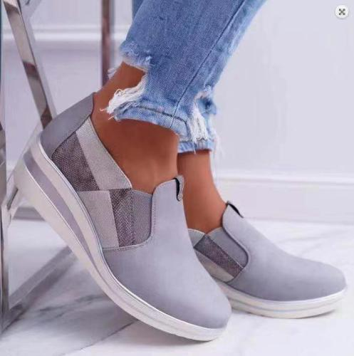 Athletic Elastic Band Slip-on Shoes Women's Wedge Sneakers