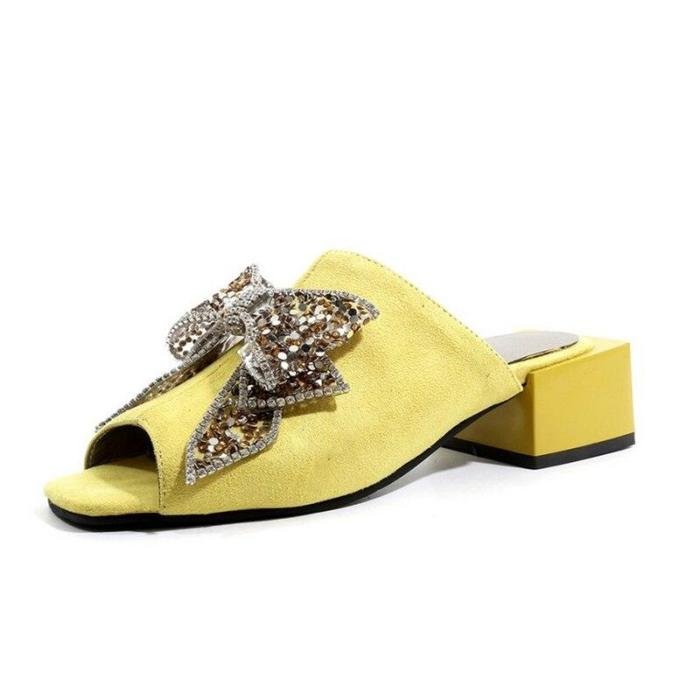 Fashion Sequins Women's Slippers High Female Open Toe Comfortable Slides