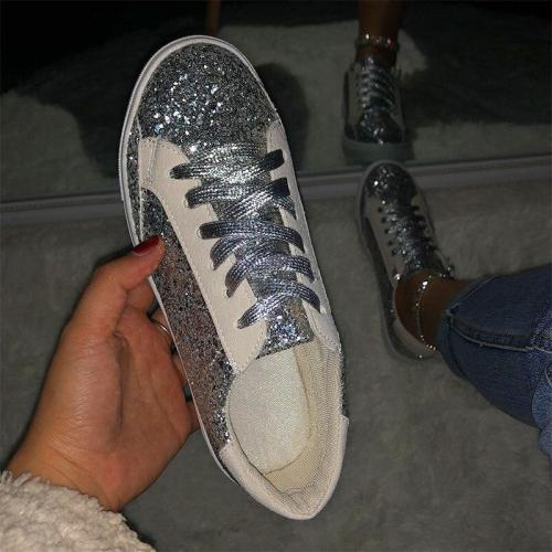 Women's Sneakers Flats Shoes Woman Glitter Bling Ladies Lace Up Female Beathable Fashion New Summer