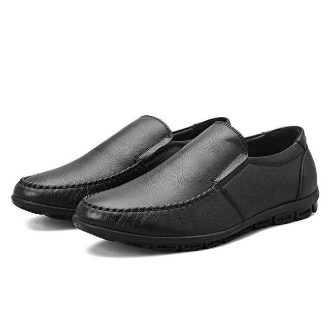 Man Leather Shoes Slip on Summer Men's Shoe Genuine Leather Loafers Black Boat Footwear Flats Moccasins Breathable