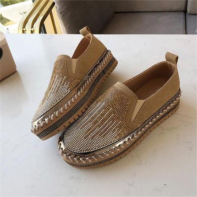 Women Chic Coloc-block Shining Rhinestone Slip-on Loafers