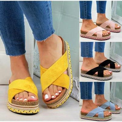 Slippers Ladies Causal Slides Cross Strap Woman Flat Soft PU Leather Female Shoes
