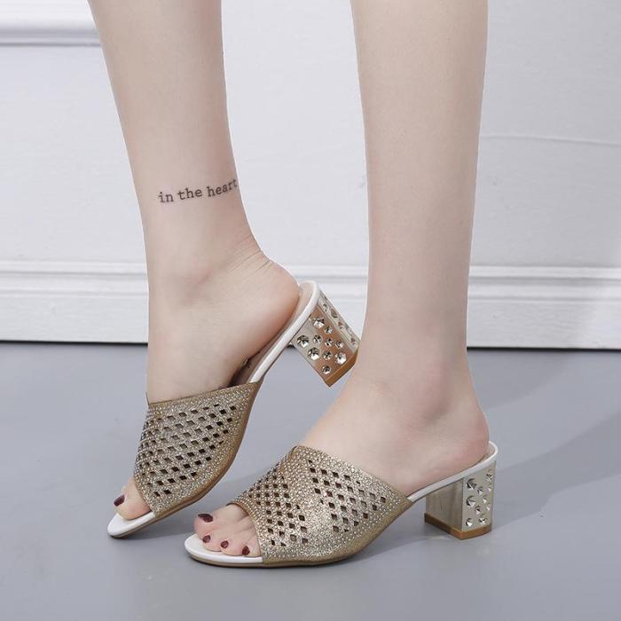 Fashion Hollow Women's Sandals Chunky Heel Sandals Women Slippers