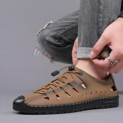 Summer New Men's Casual Sandals Wild Simple Hole Split Leather Sewing Shoes Handmade Elastic Band Man Beach Shoe