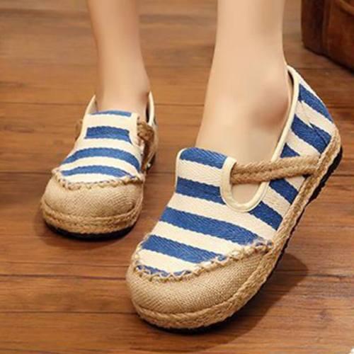 Women National Linen Hit Color Stripe Slip On Flat Heel Loafers