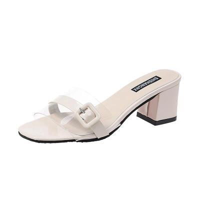 New Versatile Summer Women's Sandals Chunky Heel Transparent One Word Slippers