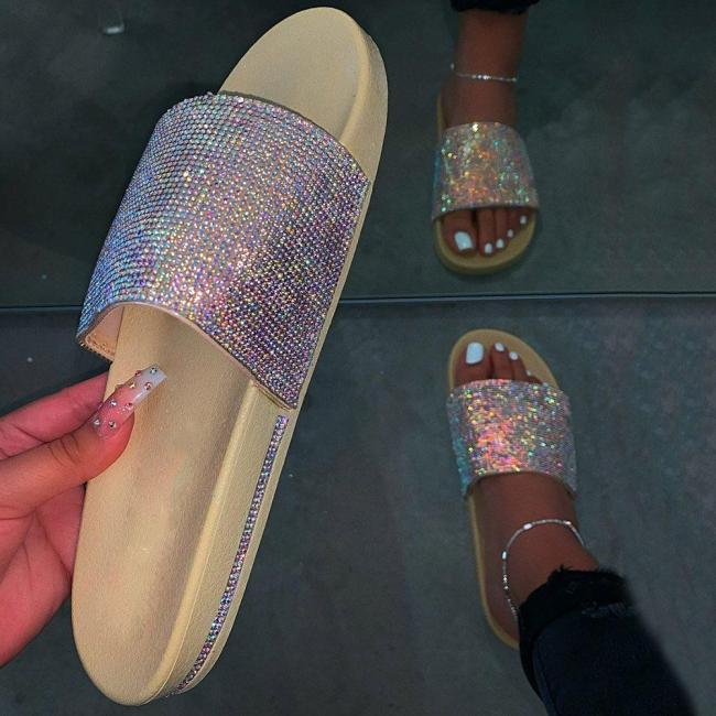 Rhinestone Slip-On Flat With Flip Flop Casual Casual Slippers
