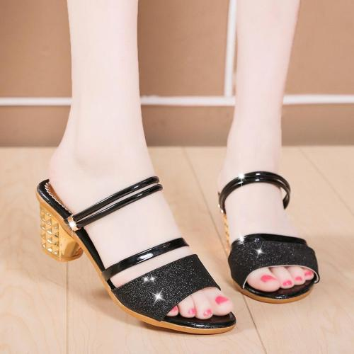 New Summerleisure High Heels Women's One-word Buckle Sandals