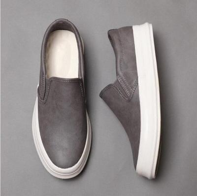 Brand New Men's Vulcanized Shoes Soft Pu Leather Men Flats Breathable Super Loafers Lazy Shoe Pattern Footwear