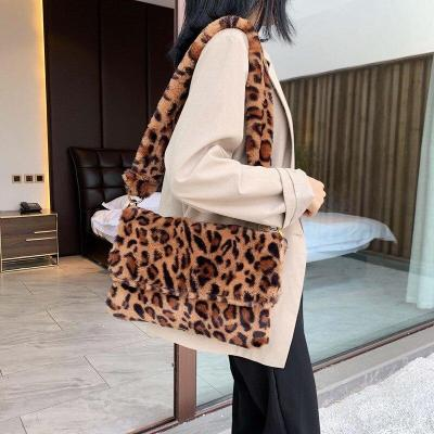 Winter Soft Faux Fur Crossbody Bags for Women Single Shoulder Bag Simple Female Leopard Plush Woman Bags