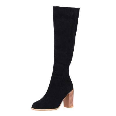 Knee High Boots Winter Women Warm Shoes Zipper High Heel Tall Boots Sewing Thick Heel Ladies Boots