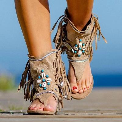 Retro Women Fringe Flower Wedges Solid Flock Beach Casual Sandals Summer Flip Flop Sandals