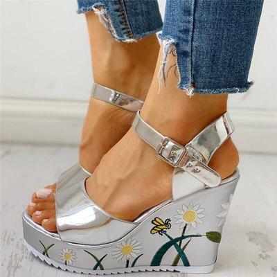Flowers Leisure Ankle-strap Wedges Women's Shoes Summer Sandals Platform High Heels Shoes Woman