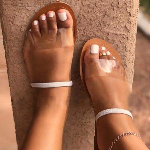 Sandals Platform Flat Heel Transparent Solid Peep Toe Back Strap Casual Simple Beach Ladies Shoes