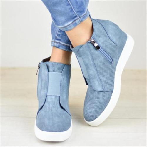Women's Plus Size Comfy Wedge Sneakers With Side Zipper