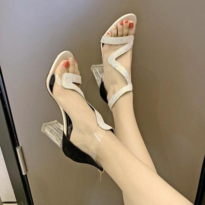 Women Sandals Ankle Strap High Heels Crystal Buckle Strap Summer Shoes Famale Fashion Rhinestone Heel