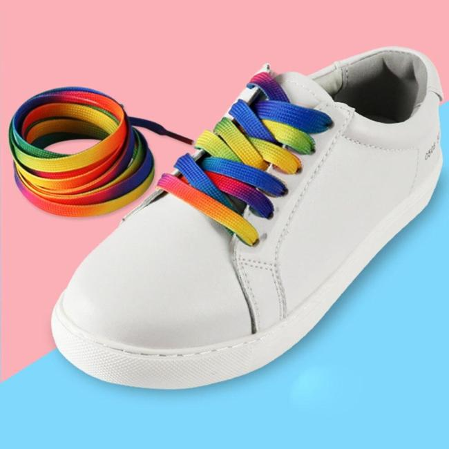 Gradient Rainbow Flat Shoelace Sports Casual Shoes Laces Sneaker Boots Strings Lazy Laces