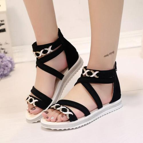 2020 Summer New Sandals Women's Roman Flat Women's Shoes Zipper Women's Sandals