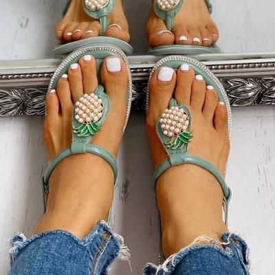Women Rhinestones Pearl Pineapple Thongs Buckle Strap Flat Heel Sandals
