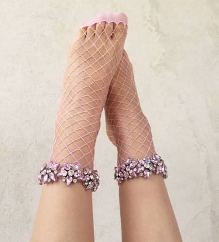 Women's Colorful Glitter Five-pointed Star Rhinestone Fishnet Socks Sexy Lady Mesh Nets Stars Ankle Socks Sox