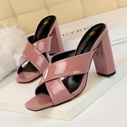 shoes leather sandals women thick heels elegant shoes extreme high heel slippers block heel shoes designer slides
