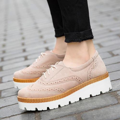 2020 Spring Women's Genuine Leather Brogue Shoes Ladies Flat Platform Loafers Shoes Fashion Casual Shoes For Women
