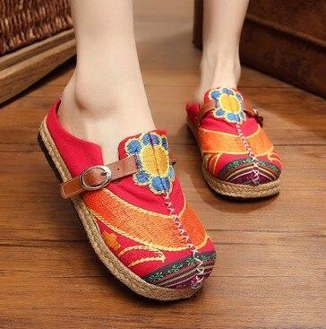 Casual Comfortable Flat Linen Women's Slippers Ethnic Style Cloth Shoes Non-slip Canvas Female Slippers Size Plus