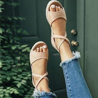 Women Sandals Gladiator Peep Toe Buckle Design Roman Women Flat Shoes Summer Beach Ladies Shoes