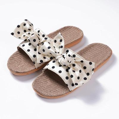 Flax Slippers Bow Polka Dot Indoor Slippers Summer Slippers Female Sandals Women