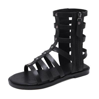 Sandals Female Rome Style Zipper Woman Hollow Out Breathable Flats Ladies Solid Shoes Women's