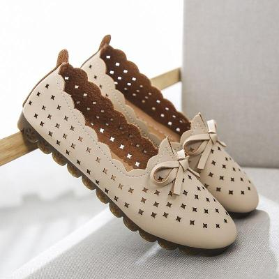 Summer Flats Shoes Woman Pu Leather Low Heel Slip on Comfortable Casual Women Shoes Footwear Leisure Hollow Bow