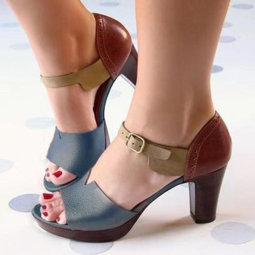 Chunky Heel Women Sandals Summer Women Shoes Ankle Strap Elegant Ladies Shoes