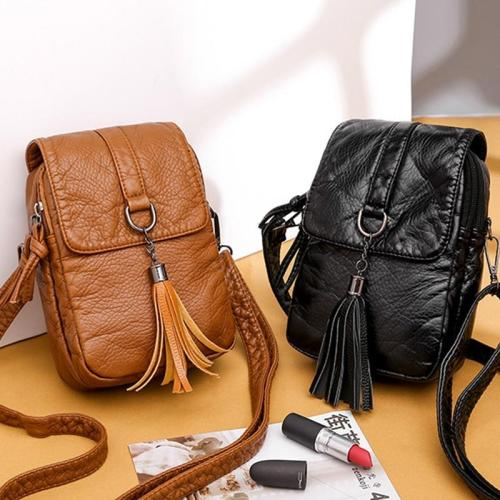 Small Leather Shoulder Bag Casual Handbag Crossbody Bags for Women Pocket Tassel Designer Mini Messenger