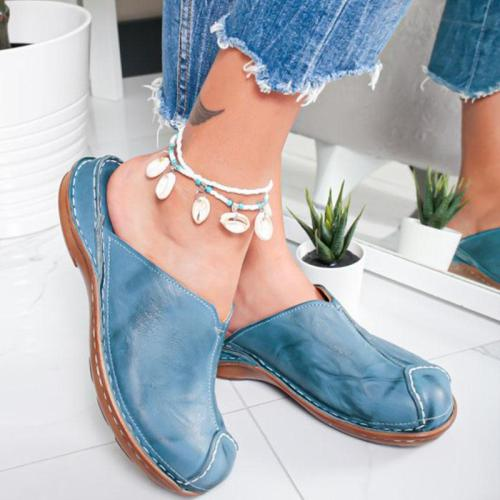 Slipper Casual Leather Handmade Flat Shoes Woman Round Head Comfortable Ladies