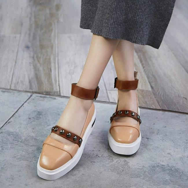 Ankle Strap Rivet Belt Buckle Zip Shoes Woman Casual Fashion Spring Autumn Flats