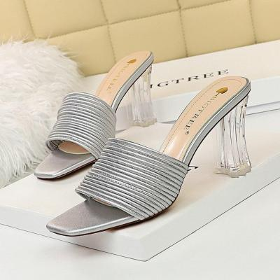 High-Heeled Slippers Sandals Elegant Slippers High Heel Square Toe Field Hollow Female Pumps