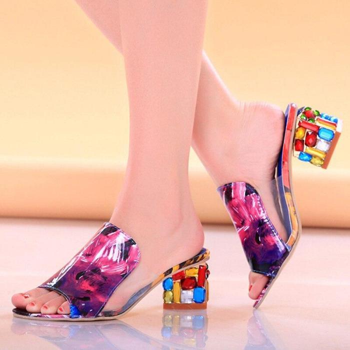 Summer Women Thick Crystal Heel Sandals Transparent PVC Patchwork Beach Slides Woman Fashion