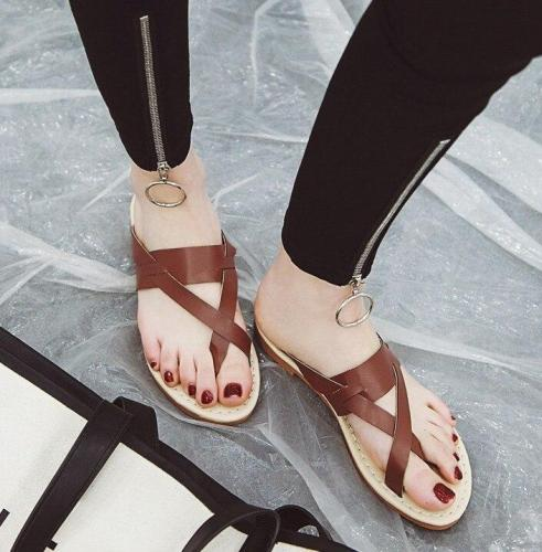 Summer Casual Women's Flat Slippers High Quality Pu Leather Flip Flops Non-slip Comfortable Beach Shoes