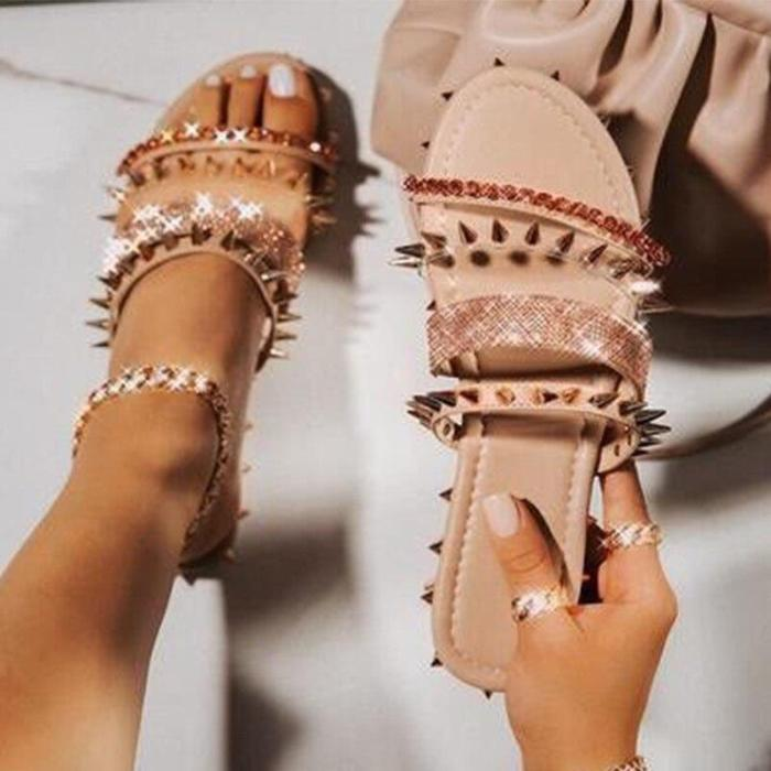 Slippers Women's Flats Ladies Crystal Sandals Shoes Summer Female Plus Size Fashion