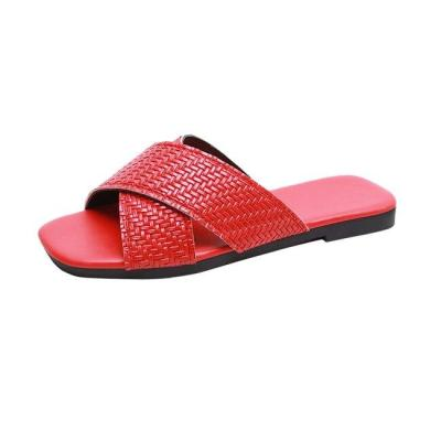 Summer Women Slippers Black White Female Slides Woman Sandals Flat Leather Shoes Solid Ladies Plus Size