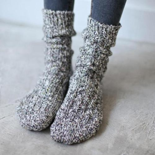 Women's Soft Snow Knitting Wool Socks Vintage Ladies Warm Thicken Socks Basic Sox Female