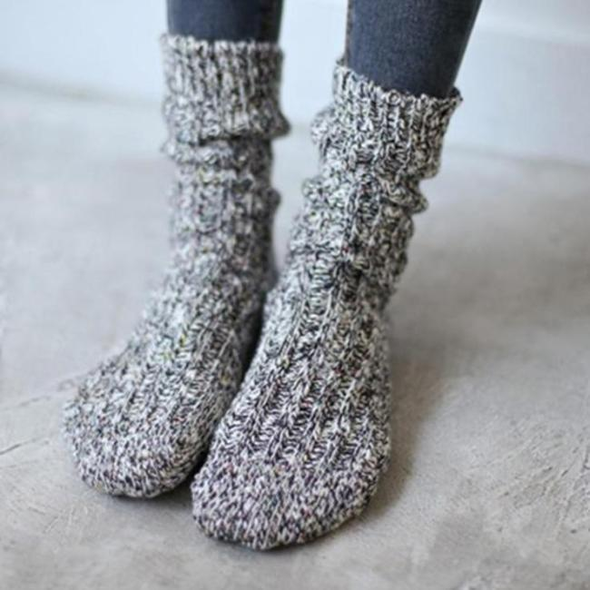 Women's Soft Snow Knitting Wool Socks Vintage Ladies Warm Thicken Socks Basic Sox Female