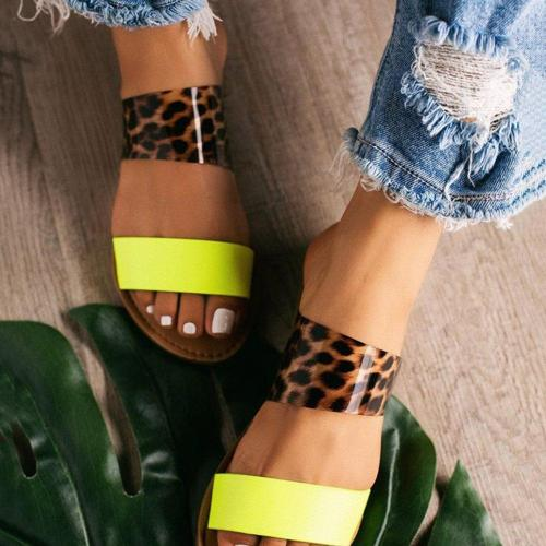 Serpentine Block Heel Flip Flop Slip-On Beach Leopard Slippers