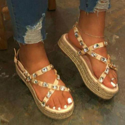 Women Rhinestone Sandals Women Platform Heels Flat Inhemp Sole Back Strap Buckle Fashion