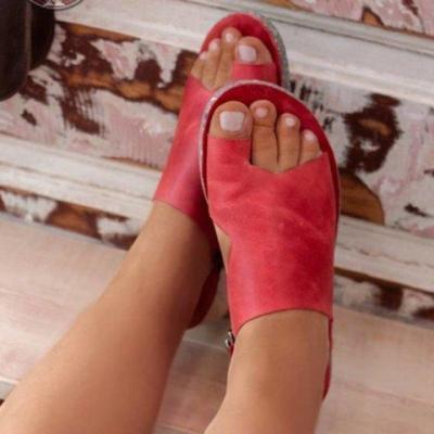 Women Summer Gladiator Snadals Solid Flat Heel Platform Pu Leather Casual Retro Rome Female Ladies